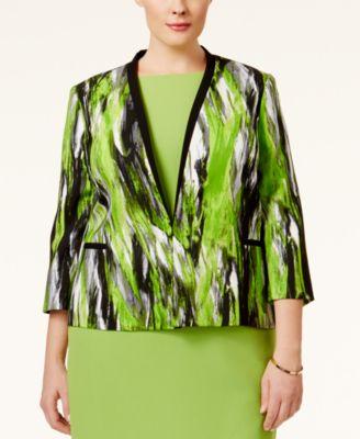 Kasper Plus Size Printed Twill Jacket