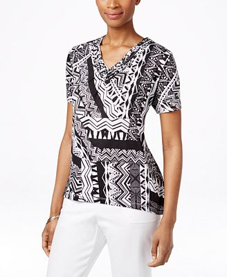 Alfred dunner petite printed bead trim v neck top tops for Alfred dunner wedding dresses