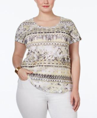 Style & Co. Plus Size Printed Embellished T-Shirt