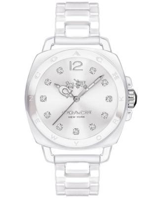 COACH Women's Boyfriend White Ceramic Bracelet Watch 34mm 14502503