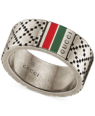 Gucci Men S Sterling Silver Diamond Pattern Wide Ring