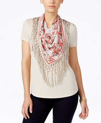 style co t shirt with fringe scarf only at macy