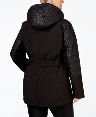 MICHAEL Michael Kors Plus Size Hooded Faux-Leather-Trim Asymmetrical Jacket