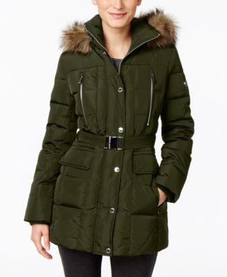 MICHAEL Michael Kors Petite Faux-Fur-Trim Belted Puffer Coat
