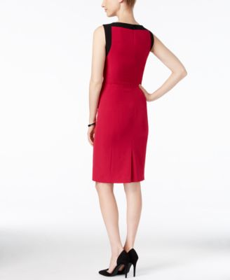 Kasper Crepe Contrast-Trim Sheath Dress