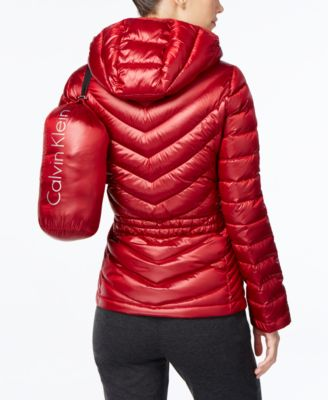 Calvin Klein Petite Packable Down Hooded Puffer Coat