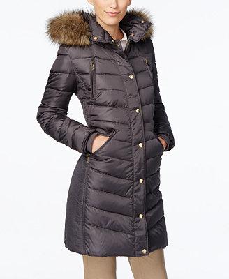 MICHAEL Michael Kors Faux-Fur-Trim Hooded Down Coat ...