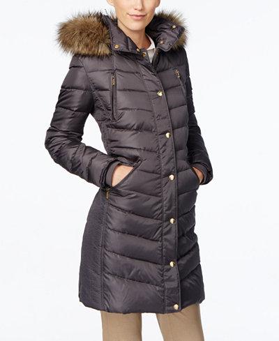 michael michael kors faux fur trim hooded down coat coats women macy 39 s. Black Bedroom Furniture Sets. Home Design Ideas
