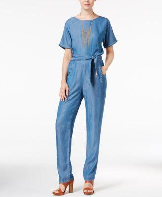 Velvet Heart Belted Chambray Jumpsuit