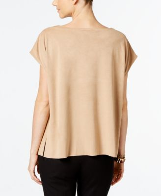 Alfani Faux-Suede Boat-Neck Top