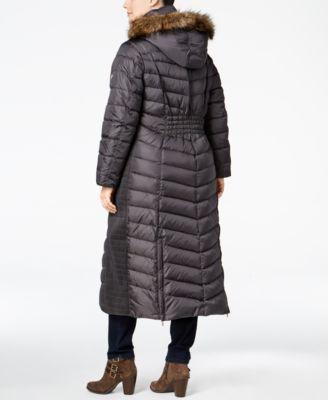 MICHAEL Michael Kors Plus Size Faux-Fur-Trim Maxi Puffer Coat