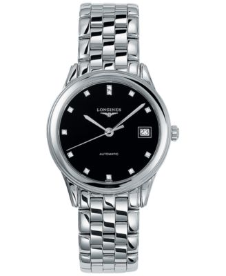 Longines Mens Swiss Automatic Flagship Diamond Accent Stainless Steel Bracelet Watch L47744576