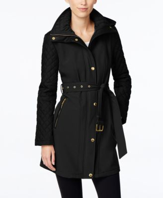 MICHAEL Michael Kors Petite Faux-Leather-Trim Quilted-Sleeve Jacket