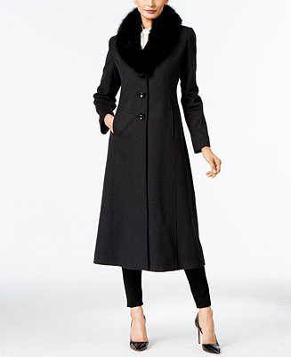 Forecaster Fox Fur Trim Wool Blend Maxi Coat Only At Macy