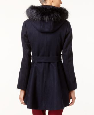 Laundry by Shelli Segal Petite Faux-Fur-Trim Skirted Walker Coat