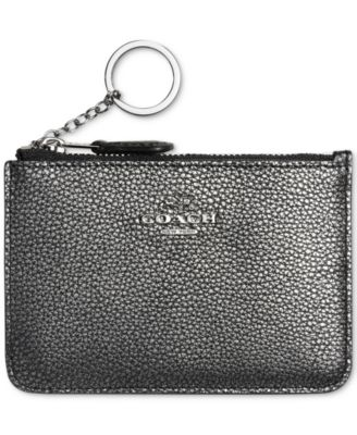 COACH Key Pouch in Polished Pebble Leather