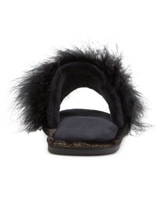 INC International Concepts Marabou Feather Scuff Slippers