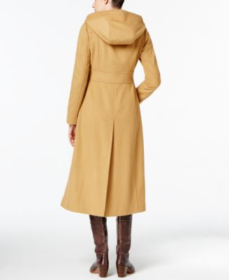 Anne Klein Petite Double-Breasted Maxi Coat