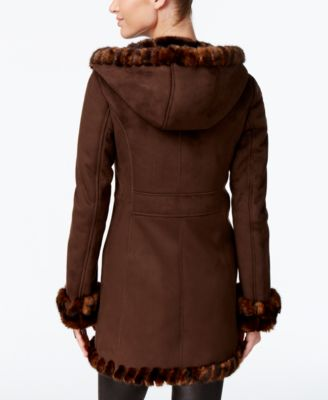 Jones New York Faux-Fur-Trim Faux-Suede Walker Coat Image