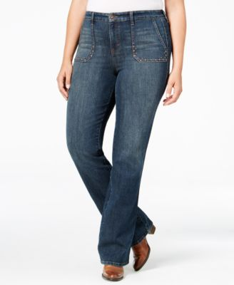 Style & Co. Plus Size Studded Blue Shadow Wash Bootcut Jeans, Only at Macy's