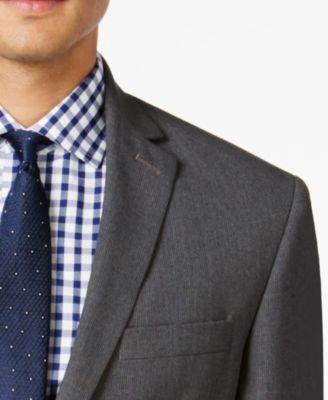 Kenneth Cole Reaction Mens Slim-Fit Grey Stripe Suit