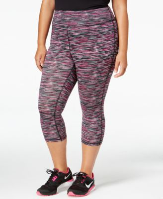 Material Girl Active Plus Size Space-Dyed Cropped Leggings, Only at Macy's