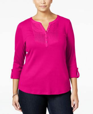 Karen Scott Plus Size Pintucked Henley Top, Only at Macy's