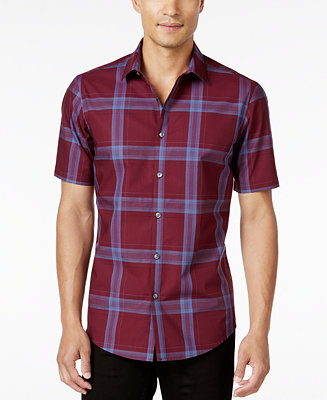 Alfani Men 39 S Big And Tall Slim Fit Short Sleeve Plaid