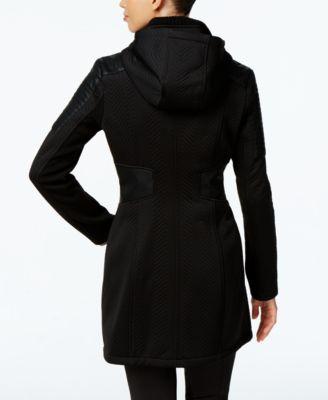BCBGeneration Water-Resistant Faux-Leather-Trim Textured Raincoat