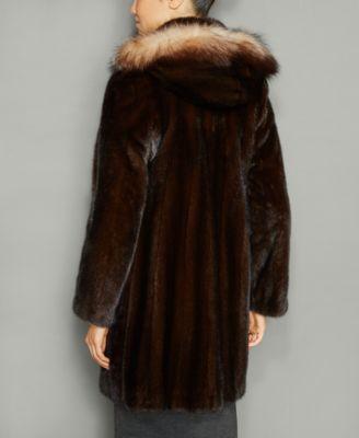 The Fur Vault Fox-Fur-Trim Hooded Mink Fur Coat