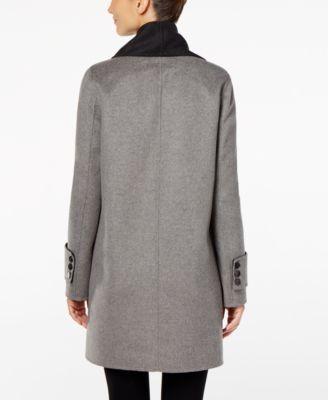 Calvin Klein Double-Face-Wool-Blend Asymmetrical-Collar Wrap Coat