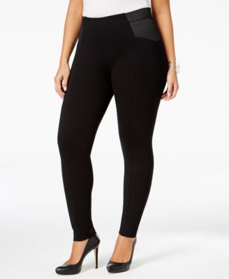 NY Collection Plus Size Elastic-Inset Leggings