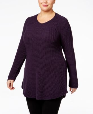 Style & Co. Plus Size V-Neck Waffle-Knit Tunic, Only at Macy's