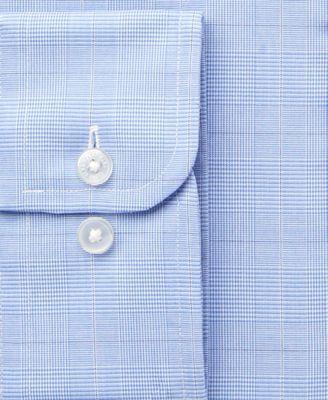 Tasso Elba Mens Classic-Fit Non-Iron True Blue Glen Plaid Dress Shirt