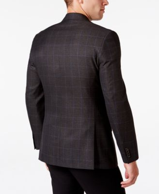 MICHAEL Michael Kors Mens Classic-Fit Brown Plaid Sport Coat