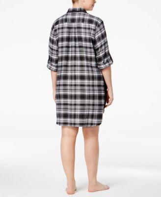DKNY Plus Size Patterned Flannel Boyfr..