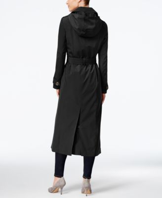 London Fog Petite Hooded Maxi Trench Coat