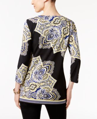 JM Collection Printed Keyhole Top