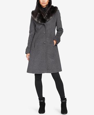 Lauren Ralph Lauren Faux Fur Collar Walker Coat Only At