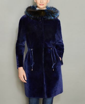 The Fur Vault Fox-Fur-Trim Hooded Shea..