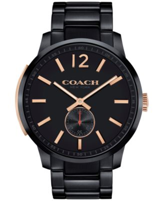 COACH Men's Bleecker Black Ion-Plated Stainless Steel Bracelet Watch 46mm 14602080