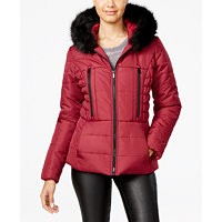 Celebrity Pink Womens Faux-Fur-Trim Hooded Puffer Coat in five colors