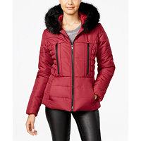 Celebrity Pink Womens Faux-Fur-Trim Hooded Puffer Coat