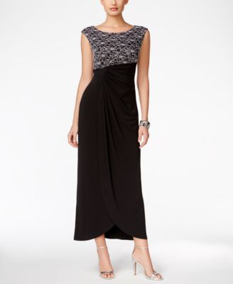 Connected Sequined Lace Draped Gown