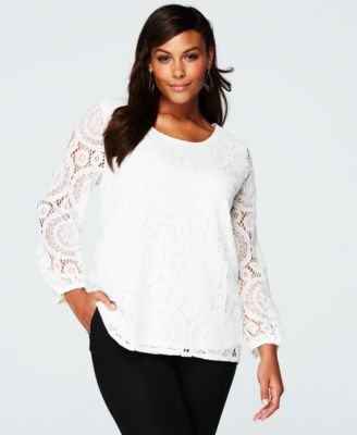 ING Trendy Plus Size Long-Sleeve Lace ..