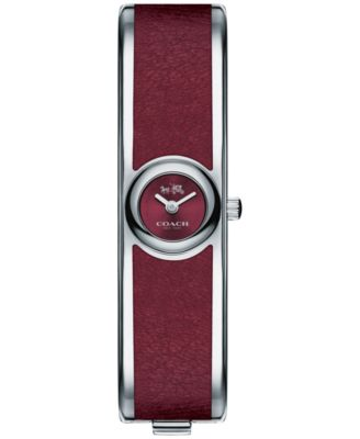 COACH Women's Scout Stainless Steel & Burgundy Leather Bangle Bracelet Watch 26mm 14502605
