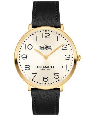 COACH Women's Slim Easton Black Leather Strap Watch 35mm 14502683