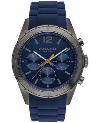 COACH Men's Chronograph Sullivan Sport Blue Rubber Strap Watch 44mm 14602119