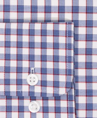 Tommy Hilfiger Mens Classic-Fit Non-Iron Blue Check Dress Shirt