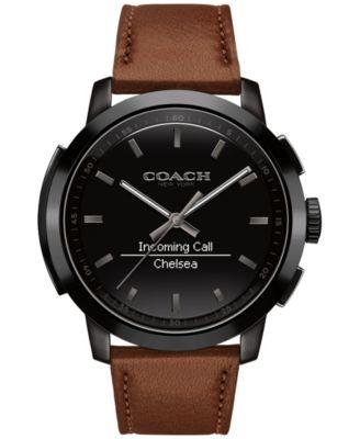 COACH Men's Bleecker Smart Brown Leather Strap Smart Watch 44mm 14602113